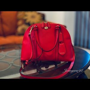 Coach coral red leather shoulder, crossbody bag